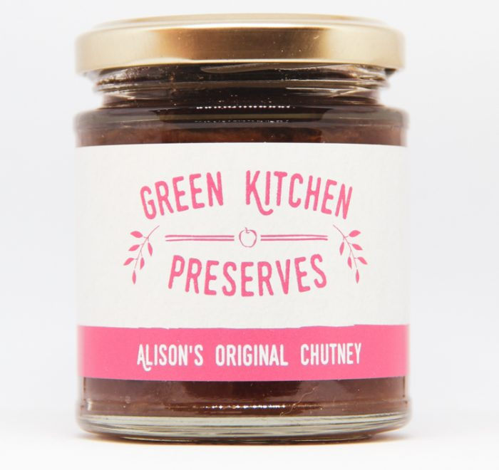 a jar of alison's original chutney on a white background