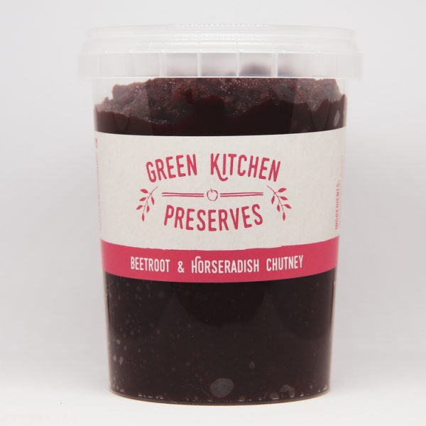 a large wholesale tub of beetroot & horseradish chutney suitable for catering businesses on a white background